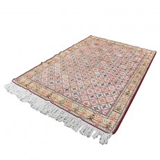 7' X 10' Persian Kilim Rug Made of Pure Silk , Kheshti Pattern Bohemian Kelim Area Rug , High Class Traditional Persian Area Rug