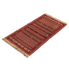 "1'8"" X 3'6"" Small Persian Door Mat Made of Merino Wool , Red Khatti Pattern Persian Rug ,Small Persian Rug Door Mat"