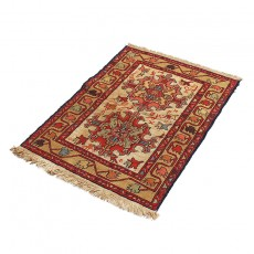 "2'4"" X 3'2"" Small Persian Door Mat Made of Merino Wool , Red Khatti Pattern Persian Rug ,Small Persian Rug Door Mat"