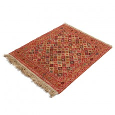 "2'8"" X 3'3"" Small Persian Door Mat Made of Merino Wool , Red Khatti Pattern Persian Rug ,Small Persian Rug Door Mat"