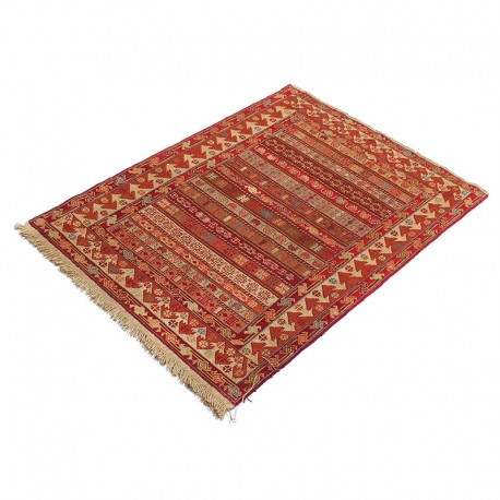 "2'8"" X 3'8"" Small Persian Door Mat Made of Merino Wool , Red Khatti Pattern Persian Rug ,Small Persian Rug Door Mat"