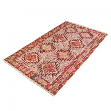 "4' X 6'4"" Persian Kilim Rug Made of Pure Silk , Dasht Moghan Pattern Bohemian Kelim Area Rug ,"