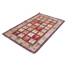 "4'2"" X 6'5"" Persian Kilim Rug Made of Pure Silk , Kheshti Pattern Bohemian Kelim Area Rug ,Classic Persian Kilim Rug"