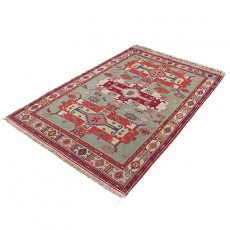 "4'4"" X 6'5"" Persian Kilim Rug Made of Silk And Merino Wool , Dasht Moghan Pattern Bohemian Kelim Area Rug"