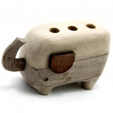 Elephante Wood Pencil Holder