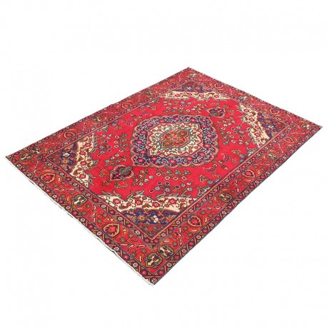 "6'8"" X 9'9"" Classic Red Persian Rug Floral Design from 1960s , Antique Persian Rug Made of Merino Wool"