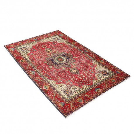 "6'3"" X 10' Red Distressed Vintage Classic Persian Rug Kerman Design from 1940s ,Antique Persian Rug Made of Merino Wool"