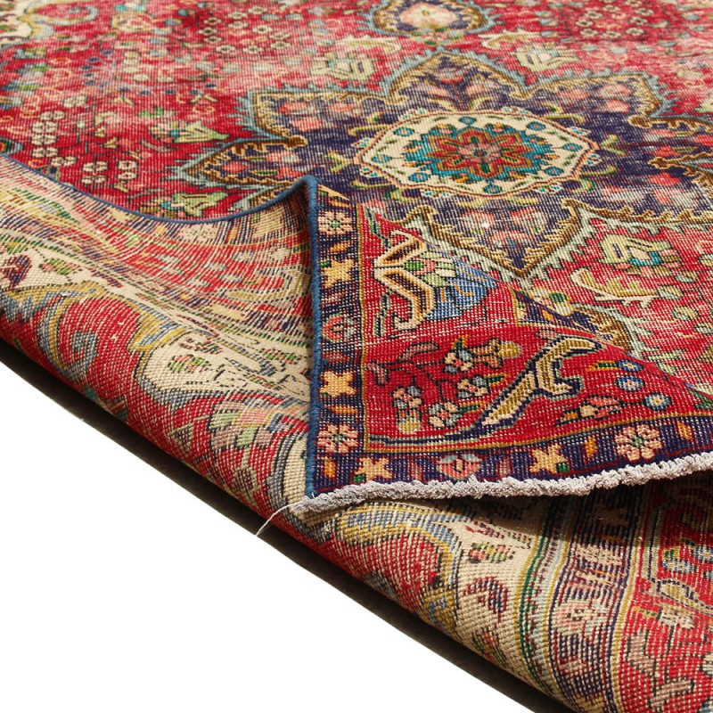 "6'3"" X 10' Red Distressed Vintage Classic Persian Rug"