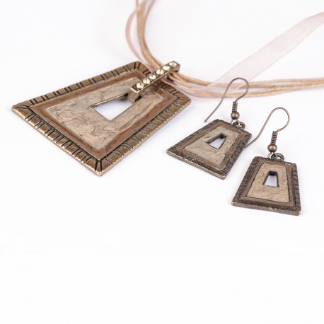Trapezoid Shape Earring and Pendant Set