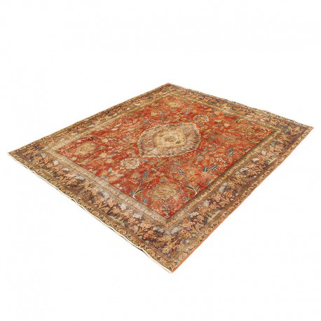 "9'8"" x11' Vintage Distressed Persian Rug from 1910s, High Class One Of A Kind Oushak Persian Rug"