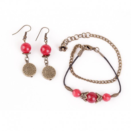 Brass and Stone Earring -Bracelet Set