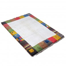 Hand knotted Persian Gabbeh Rug with Abstract Border Design