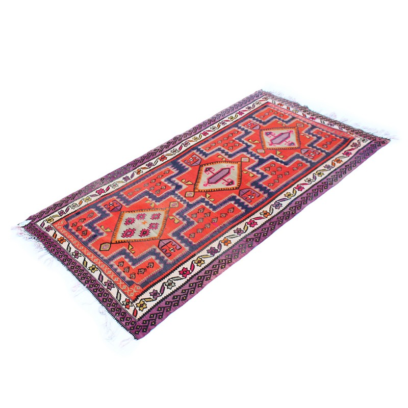 Persian Hand Knotted Red Wool Rug And Kilim Rizo