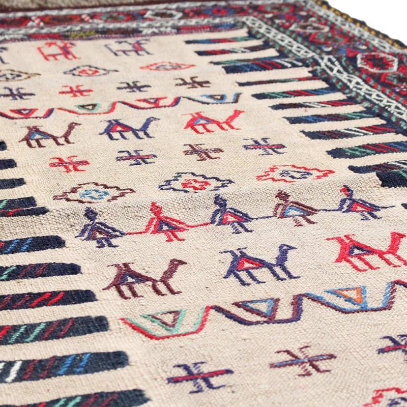 Art Kilim Wool Rug: 5' X 3'5 Highest Quality Handmade Kilim Rug , Camel Wool