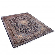 "10' x 12'6"" Vintage Classic Persian Rug from 1950s ,Black Qom Rug ,High Class Antique Persian Rug Made of Merino Wool"