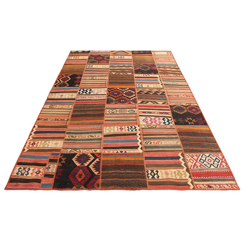 """10 By 10 Area Rugs: 6'7"""" X 10' Kilim Patchwork Area Rug , High Quality Persian"""