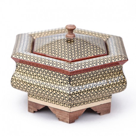 Hexagon-shaped Khatam Kari box