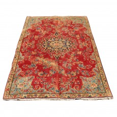 Vintage Hand Knotted Rug , Persian Rug From Kerman Made Of Merino Wool