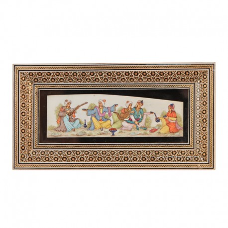 Persian miniature in khatam frame
