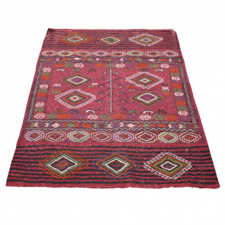 Antique Persian Kilim woven in Mashhad,Red Color