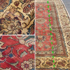 "10'9"" x 10'2"".Floral design, Hand knotted, area rug, Red Rug, Code : S0101257"