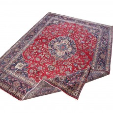 """12'7"""" x 9'6"""".Floral Pattern, Hand knotted, Area rug, Vintage wool rug, Red Rug, Woven Handmade, Code : S0101426"""