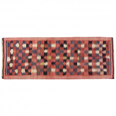 "10'9"" x 3'11"".PersianKilim, Oriental floor carpet, Geometric Pattern, Organic Colors , Vintage wool rug, Code : S0101519"