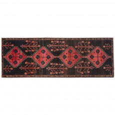 "11'10"" x 4'2"",Black & Red Rug, Hallway Rug, Area Rug in Great Condition hand knotted, Code : S0101824"
