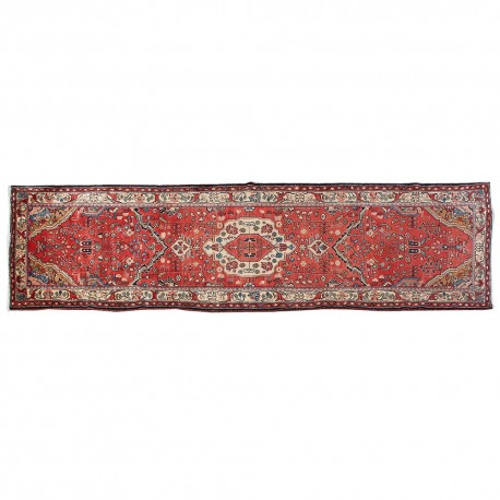 "13'3"" x 3'7"",Antique Persian rug for living room, Floral Pattern, Hand knotted, Runner rug, Red Rug, S0101586"