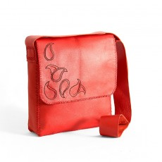 Leather Shoulder Bag in Firebrick Red