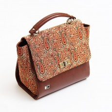 Brocade and Leather Handbag