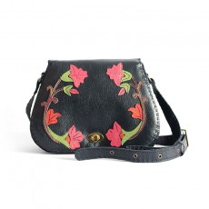 Black Cowhide Shoulder Bag with Roses