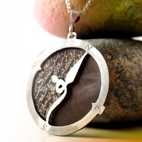 "Silver Compass Pendant ""Travel"""