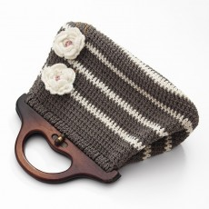 Knitted Grey and White Handbag
