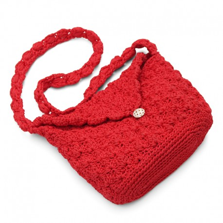 Red Hand-Knitted Shoulder Bag