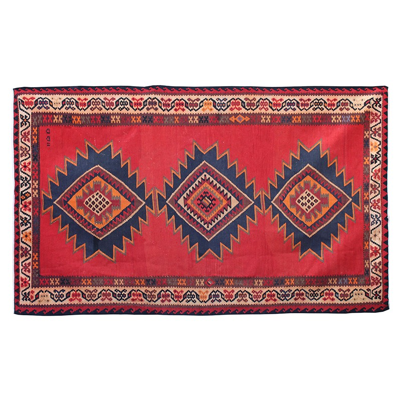 Vintage Two Sided Bright Red Kilim Rug