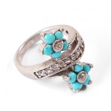 Silver Forget-Me-Not Turquoise Ring