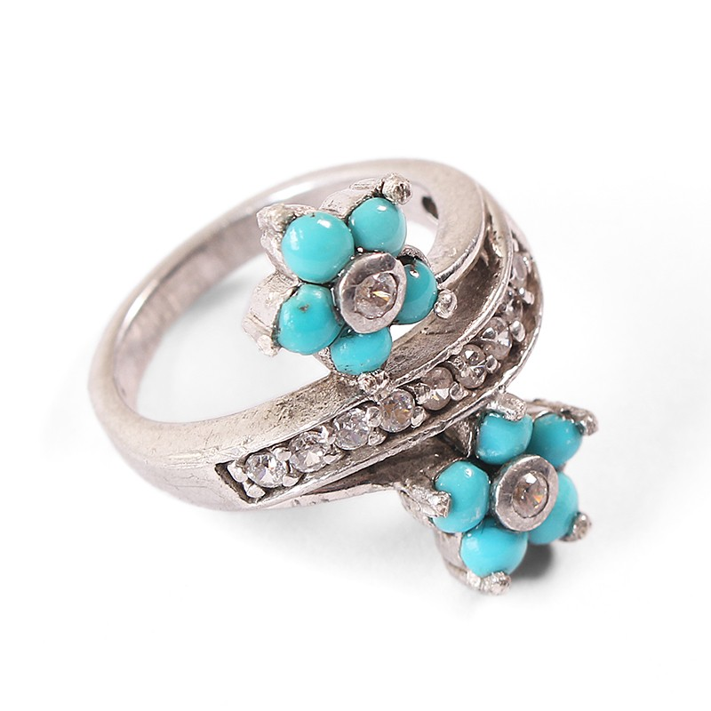 silver forget me not turquoise ring rizo