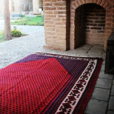Vintage Handmade Persian Rug with Fish Design
