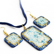 Enamel Earrings and Necklace Set on Seashell (MinaKari)