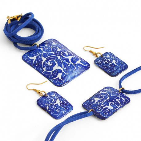 Blue Enamel Jewelry Set With Necklace, Bracelet and Earrings (Minakari)