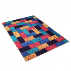 Patchwork kilim with drip painting