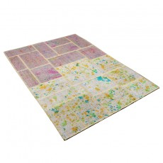 Double sided Patchwork kilim with drip painting