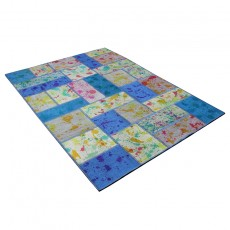 Ocean and jungel Patchwork kilim with drip painting