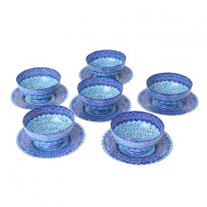 Candy and Nuts Bowl & Plate Enamel on Copper Blue Hftseen Minakari Set of six