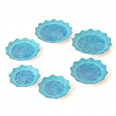 Enameled blue Minakari Copper Set of six Plates for Haftseen