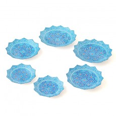 Enameled Hftseen Minakari Copper Set of six Plates