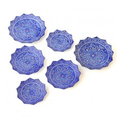 Enameled Deep Blue Hftseen Minakari on Copper Set of six Plates