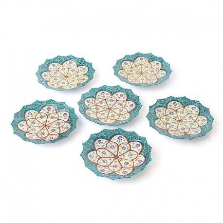 Enameled Green and White Hftseen Minakari on Copper Set of six Plates