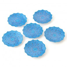 Enameled Blue Hftseen Minakari on Copper Set of six Plates